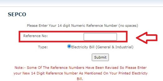 Input SEPCO bill reference number on official website